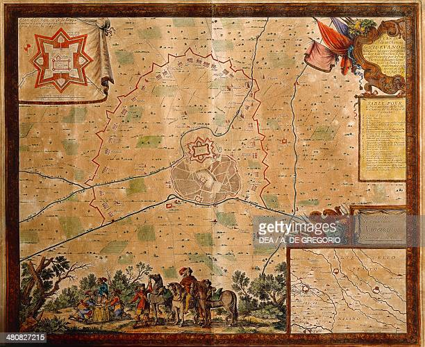 Italy 17th century Map of the siege of Vigevano of 1645 with plan of city and castle
