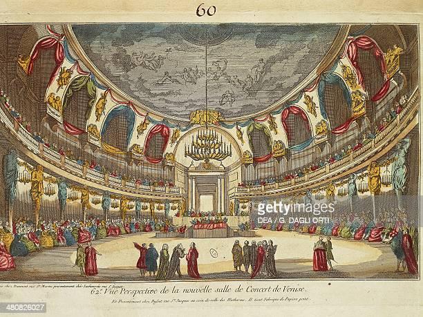 Italy 18th century Venice New Concert hall Engraving Paris Bibliothèque Des Arts Decoratifs