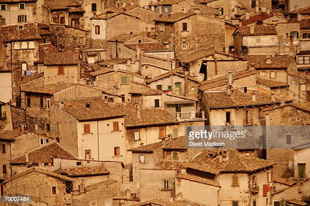 Italy, Abruzzi, Scanno, rooftops, full frame, elevated view
