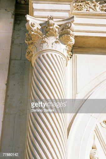 Italy, Abruzzo, L'Aquila, San Bernardino church, close up of column