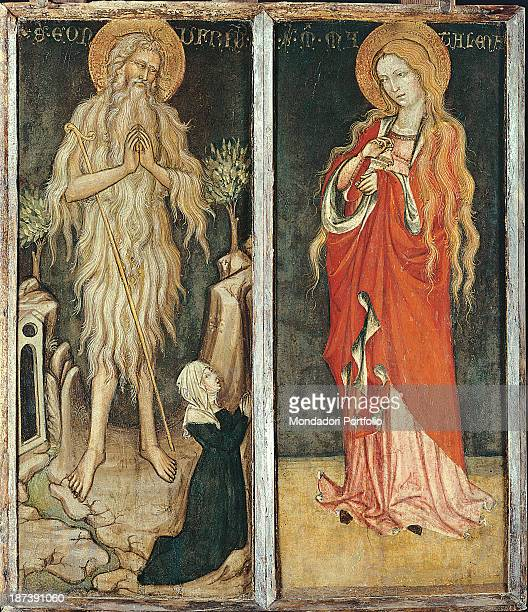 Italy Abruzzo Sulmona Museo Civico All On the left the male figure of Saint Onofrio hermit standing with halo and long untidy hair which cover all...