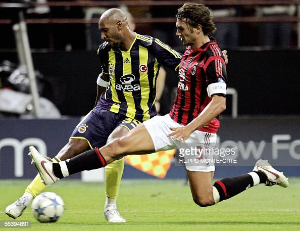 AC Milan's Paolo Maldini tackles French Nicolas Anelka of Fenerbahce SK during their Champion's league football match at S Siro Stadium in Milan 13...
