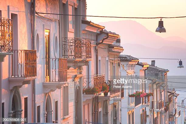 Italy, Ambruzzo, Pacentro, row of houses in street