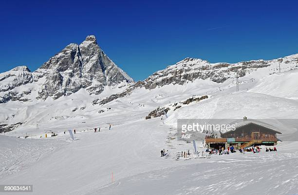 Italy Aosta Valley Cervinia chalet and Matterhorn in background