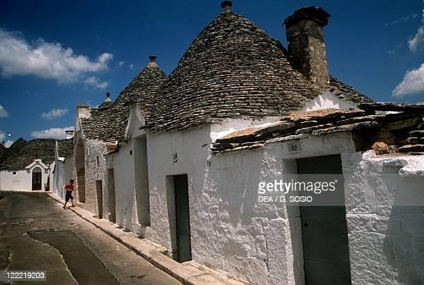 Italy Apulia Region Murge Plateau Alberobello Aja Piccola Quarter Trulli UNESCO World Heritage Site since 1996