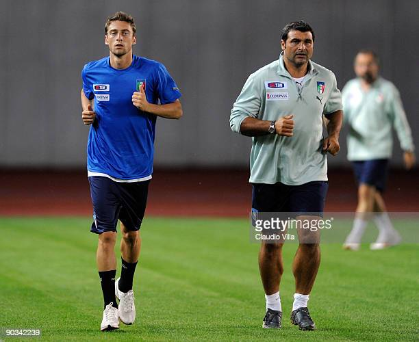 Italy Assistant Coach Angelo Peruzzi and Claudio Marchisio during the training at Boris Paichadze National Stadium on September 4 2009 in Tbilisi...