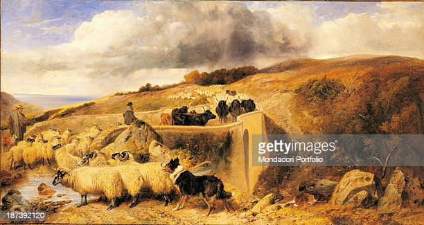 Italy Banca Popolare di Abbiategrasso All In the Scottish countryside two shepherds are crossing a bridge with their flock A dog is helping them