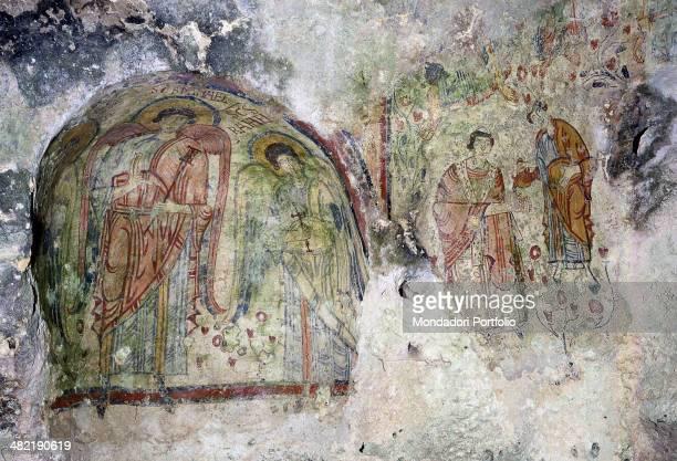 Italy Basilicata Matera Crypt of the Original Sin Detail Bishop and diacon