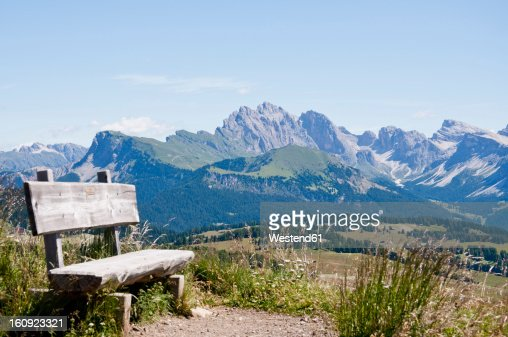 Italy, Bench on hiking path at Seiser Alm in South Tyrol