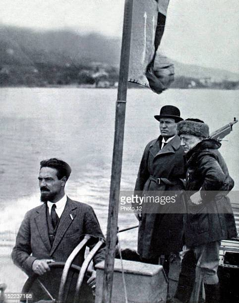 Italy Benito Mussolini and Gabriele d'Annunzio taking a boat ride on Lake Garda