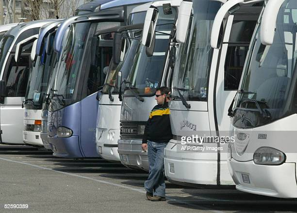 Buses transporting Italian faithfuls are pictured after arriving at Anagnina bus station in Rome 05 April 2005 to pay their final respects to Pope...