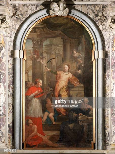 Italy Calabria Reggio Calabria Cittanova Saint Pelagio's church Whole artwork view St Lucy receiving the palm of martyrdom from an angel in the lower...
