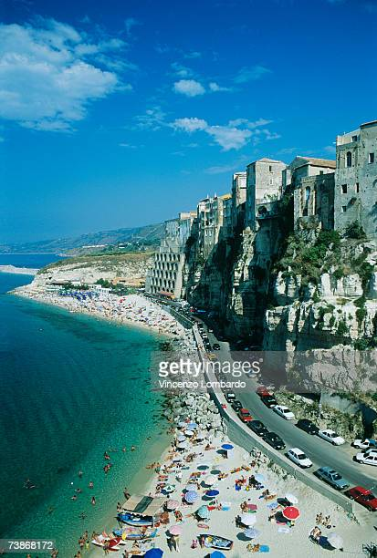 Italy, Calabria, Tropea, Road at seashore, high angle view