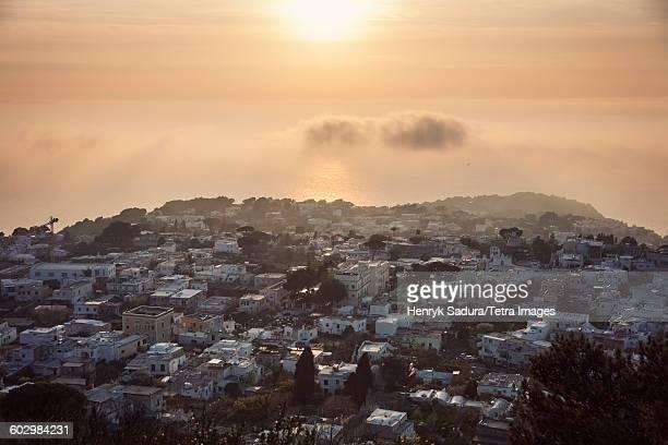 Italy, Campania, Capri Island, Anacapri, Town at sunset