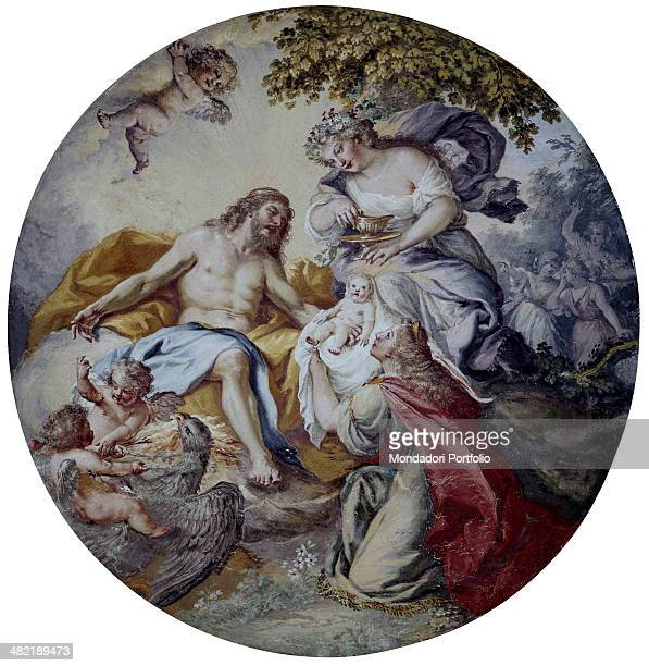 Italy Campania Caserta Royal Little House of Belvedere Whole artwork view Allegoric scene with one of the seasons Spring with a new born baby offer