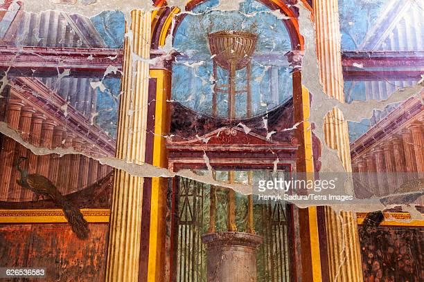 Italy, Campania, Ercolano, Old mural on ruins of Herculaneum