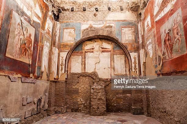 Italy, Campania, Ercolano, Old mural on walls of ruins of Herculaneum