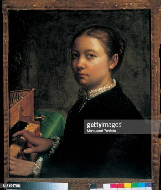 Italy Campania Naples Capodimonte national museum Whole artwork view SelfPortrait of Italian painter Sofonisba Anguissola at the spinet The face of...