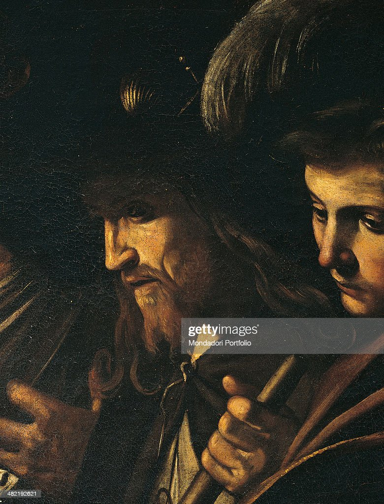 Italy, Campania, Naples, Church of the Pio Monte della Misericordia. Detail. Faces of the bearded man and of the young gentelmen with hat and sword on the left.