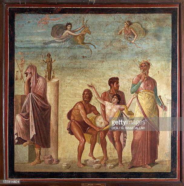 Italy Campania Pompeii The sacrifice of Iphigenia from the House of the Tragic Poet fresco