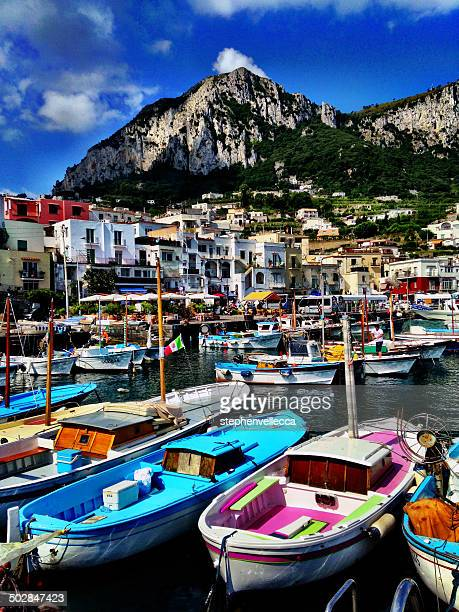 Italy, Capri, colorful boats in harbor