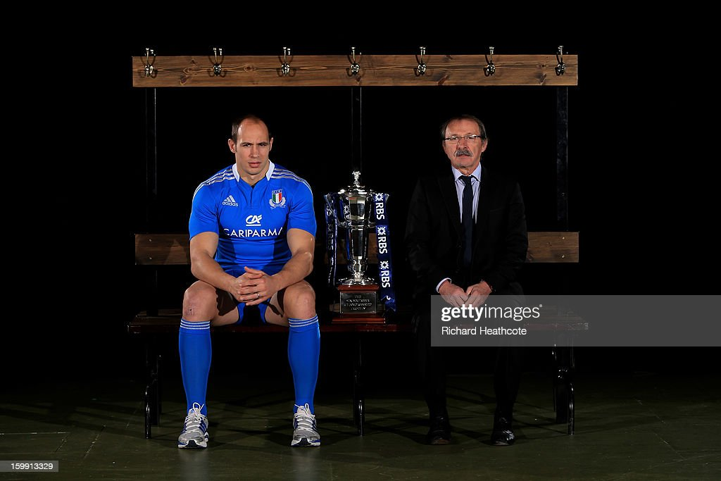 Italy captain Sergio Parisse and Jacques Brunel the Italy head coach pose with the Six Nations trophy during the RBS Six Nations launch at The Hurlingham Club on January 23, 2013 in London, England.