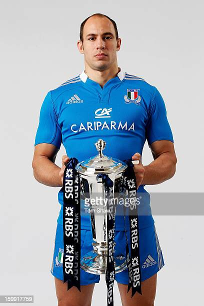 Italy captain Sergio Parisse poses with the Six Nations trophy during the RBS Six Nations launch at The Hurlingham Club on January 23 2013 in London...