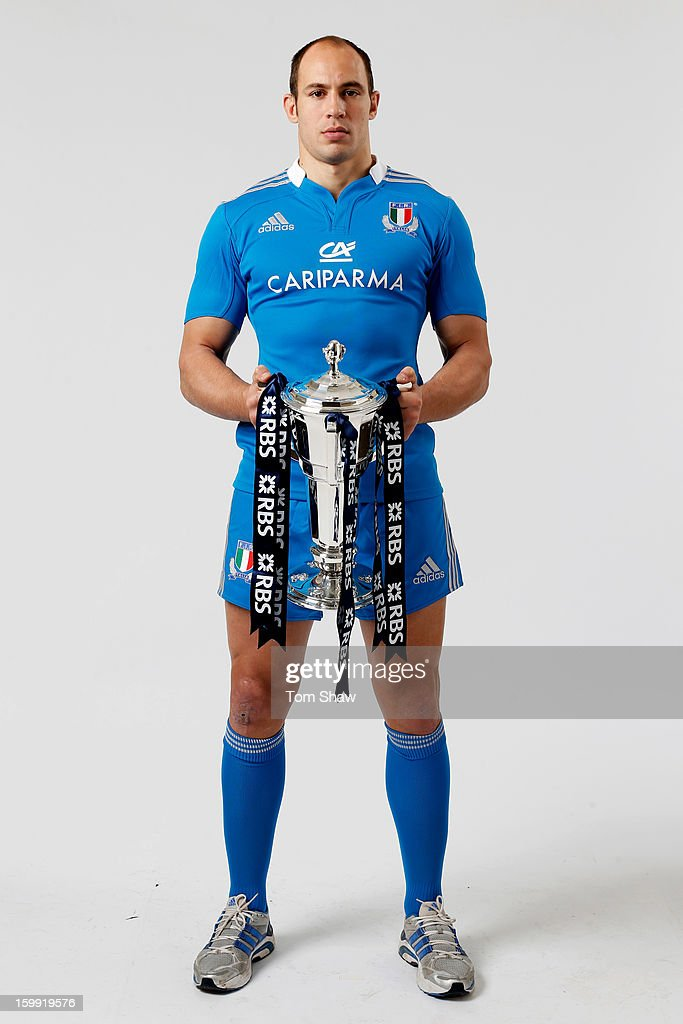 Italy captain Sergio Parisse poses with the Six Nations trophy during the RBS Six Nations launch at The Hurlingham Club on January 23, 2013 in London, England.