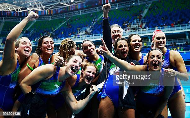 Italy celebratesafter victory in the Water Polo semi final match between Italy and Russia at Olympic Aquatics Stadium on August 17 2016 in Rio de...