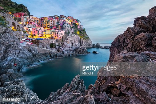 Italy, Cinque Terre, Manarola, Townscape at sunset