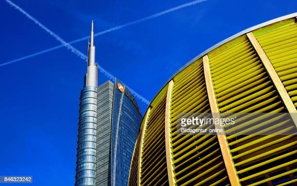 Italy City of Milan Porta Nuova Bank of Unicredit Bank And Pavilion Auditorium At The Piazza Gae Aulenti