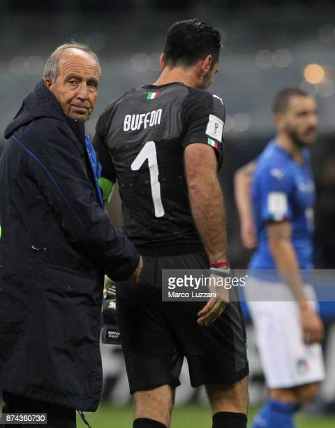 Italy coach Giampiero Ventura and Gianluigi Buffon of Italy shows their dejection at the end of the FIFA 2018 World Cup Qualifier PlayOff Second Leg...