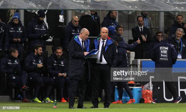 Italy coach Giampiero Ventura looks on during the FIFA 2018 World Cup Qualifier PlayOff Second Leg between Italy and Sweden at San Siro Stadium on...