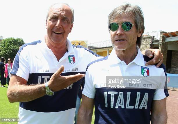 Italy coach Giampiero Ventura pose with team nanager Gabriele Oriali during FIGC Partners Day at Coverciano on June 5 2017 in Florence Italy