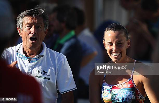 Italy coach Giorgio Cagnotto and Tania Cagnotto react during the Italian Diving Champioships at Piscine del Foro Italico on June 21 2016 in Rome Italy