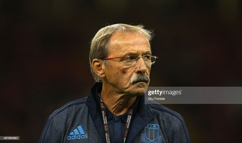 Italy coach <a gi-track='captionPersonalityLinkClicked' href=/galleries/search?phrase=Jacques+Brunel&family=editorial&specificpeople=557558 ng-click='$event.stopPropagation()'>Jacques Brunel</a> looks on before the International match between Wales and Ireland at Millennium Stadium on September 5, 2015 in Cardiff, Wales.