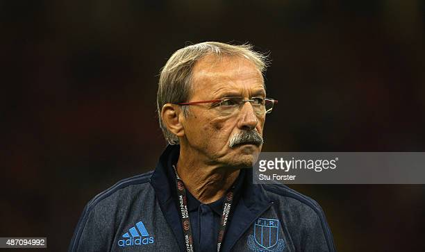 Italy coach Jacques Brunel looks on before the International match between Wales and Ireland at Millennium Stadium on September 5 2015 in Cardiff...
