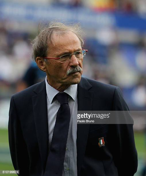Italy coach Jacques Brunel looks on before the RBS Six Nations match between Italy and England at Stadio Olimpico on February 14 2016 in Rome Italy