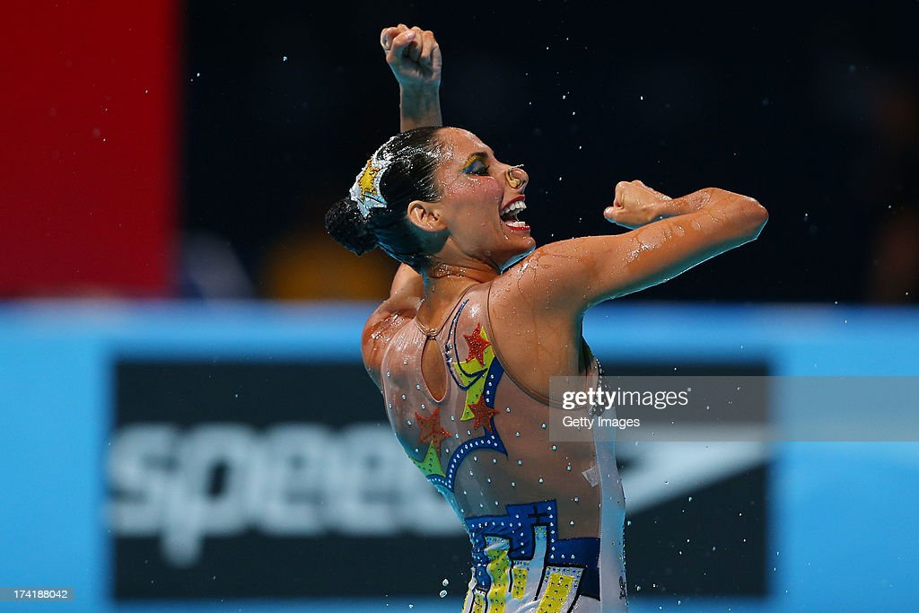 Italy compete in the Synchronized Swimming Free Combination preliminary round on day two of the 15th FINA World Championships at Palau Sant Jordi on July 21, 2013 in Barcelona, Spain.