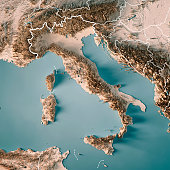 3D Render of a Topographic Map of Italy. All source data is in the public domain. Boundaries Level 0: Humanitarian Information Unit HIU, U.S. Department of State (database: LSIB) http://geonode.state.