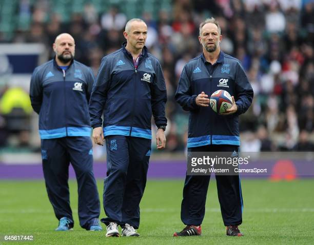 Italy defence coach Brendan Venter right with Conor O'Shea during the pre match warm up before the RBS Six Nations Championship match between England...
