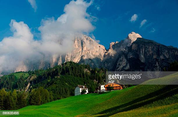Italy Dolomites Sassongher PuezOdle Natural Park and Colfosco village in Badia Valley