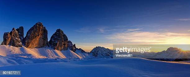 Italy, Dolomites, Trentino-Alto Adige, Pustertal valley, Hochpuster valley, Tre Cime di Lavaredo at sunset