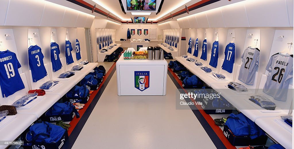 Italy dressing room prior to the international friendly match between Italy and Romania at Stadio Renato Dall'Ara on November 17, 2015 in Bologna, Italy.