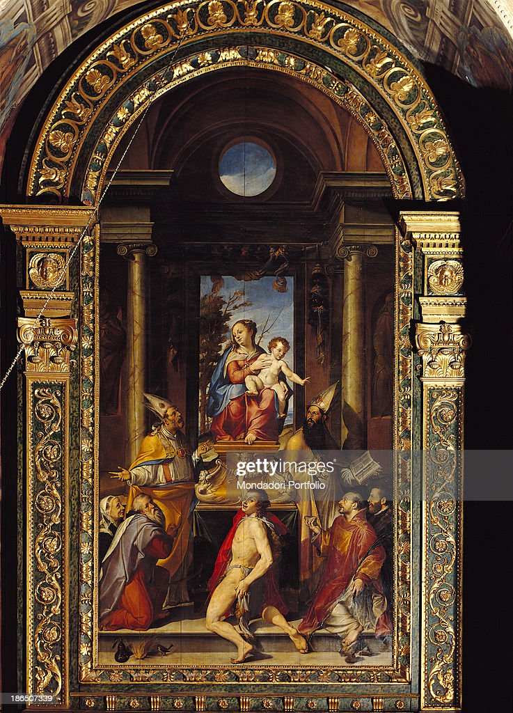 Italy Emilia Romagna Bologna church of San Giacomo Maggiore Gargiolari chapel Whole artwork view The Virgin sits on a trone with the Child at her...