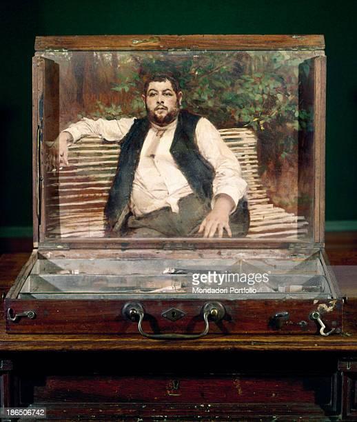 Italy Emilia Romagna Ferrara Giovanni Boldini Museum Whole artwork view Boldini painted on the inner cover of a colors box a portrait of the gardener...