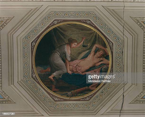 Italy Emilia Romagna Forlì Orsi Guarini Matteucci Foschi Palace Detail Partial view of a ceiling decorated with grotesque around a figurate medallion...