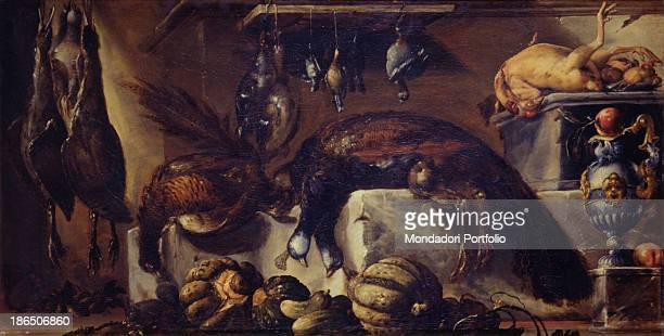 Italy Emilia Romagna Parma National Gallery Whole artwork view Still life with dead peacock poultry game pumpkins fruit and a silver jug