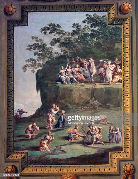 Italy Emilia Romagna Sassuolo Royal Palace Whole artwork view According to a myth some men are drinking from a stream near the forest of the muses...