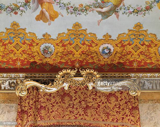Italy EmiliaRomagna Bologna Palazzo della Provincia Detail An upper tier box of a ballroom with curtain red and golden decorations
